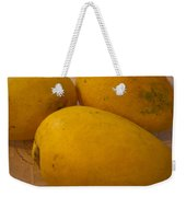 3 Yellow And Luscious Mangos On A White Sheet Weekender Tote Bag