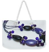 3598 Purple Cracked Agate Necklace Weekender Tote Bag