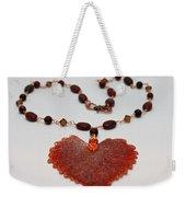 3610 Iridescent Copper Plated Cottonwood Leaf Pendant Necklace Weekender Tote Bag