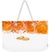 4 Red Yellow Roses And Wedding Rings Over White Weekender Tote Bag