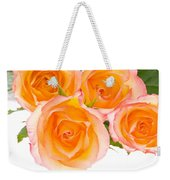 4 Roses Over White Weekender Tote Bag