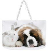 Saint Bernard Puppy With Rabbit Weekender Tote Bag