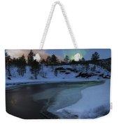 Aurora Borealis Over Tennevik River Weekender Tote Bag