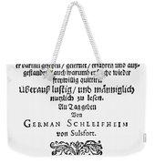 Hans Von Grimmelshausen Weekender Tote Bag
