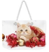 Kitten With Tinsel Weekender Tote Bag