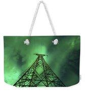 Powerlines And Aurora Borealis Weekender Tote Bag by Arild Heitmann
