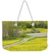 Spring Farm Landscape With Dandelion Bloom In Maine Weekender Tote Bag