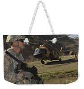 A Soldier Provides Security Weekender Tote Bag