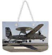 An E-2c Hawkeye Lands Aboard Weekender Tote Bag by Stocktrek Images