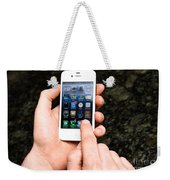 Hands Holding An Iphone Weekender Tote Bag