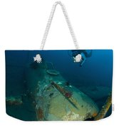 Diver Explores The Wreck Weekender Tote Bag