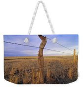 A Barbed Wire Fence Stretches Weekender Tote Bag