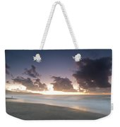 A Beach During Misty Sunset With Glowing Sky Weekender Tote Bag