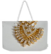 A Beautiful Gold And Diamond Pendant On A White Background Weekender Tote Bag