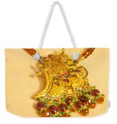 A Beautiful Intricately Carved Gold Pendant Hanging From A Semi-precious Stone Chain Weekender Tote Bag