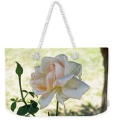 A Beautiful White And Light Pink Rose Along With A Bud Weekender Tote Bag