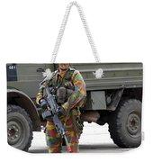 A Belgian Infantry Soldier Handling Weekender Tote Bag