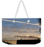 A Bird Outlined Against The Setting Sky At Dover Castle Weekender Tote Bag