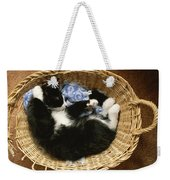 A Black-and-white Domestic Short-hair Weekender Tote Bag