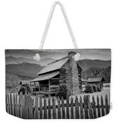 A Black And White Photograph Of An Appalachian Mountain Cabin Weekender Tote Bag