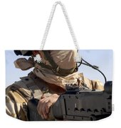 A British Army Soldier Mans A Machine Weekender Tote Bag