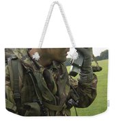 A British Army Soldier Radios Weekender Tote Bag by Andrew Chittock
