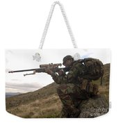 A British Soldier Armed With A Sniper Weekender Tote Bag