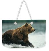 A Brown Bear Rushing Through Water Weekender Tote Bag