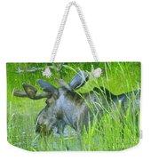 A Bull Moose Wading His Pond Weekender Tote Bag