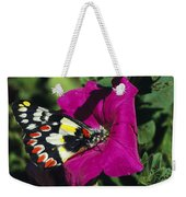 A Butterfly Lands On A Pink Flower Weekender Tote Bag