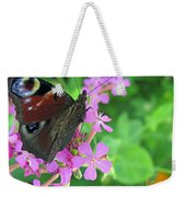 A Butterfly On The Pink Flower 2 Weekender Tote Bag