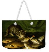 A Cat With Trout Perch And Carp On A Ledge Weekender Tote Bag