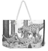 A Ceratosaurus Chasing Young Weekender Tote Bag
