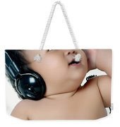 A Chubby Little Girl Listen To Music With Headphones Weekender Tote Bag