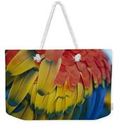 A Close-up View Of A Parrots Rainbow Weekender Tote Bag