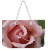 A Close View Of The Top Of A Pink Rose Weekender Tote Bag