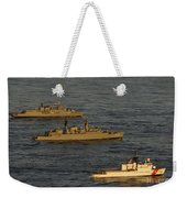 A Convoy Of Naval Ships Move Weekender Tote Bag