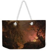 A Cottage On Fire At Night Weekender Tote Bag
