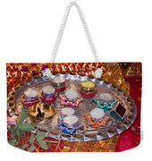 A Decorated Hindu Prayer Thaali With Wax Candles Oil Lamps Weekender Tote Bag