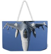 A Dutch F-16am Conducts In-flight Weekender Tote Bag