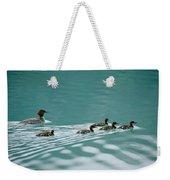 A Family Of Merganser Ducks Swim Weekender Tote Bag