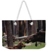 A Female Moose Nuzzles Her  Young Weekender Tote Bag