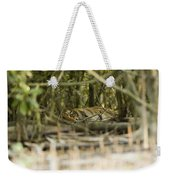 A Female Tiger Rests In The Undergrowth Weekender Tote Bag