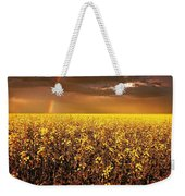 A Field Of Canola With A Rainbow Weekender Tote Bag