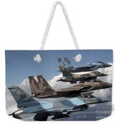 A Flight Of Aggressor F-15 And F-16 Weekender Tote Bag