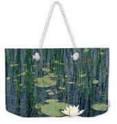 A Flowering Water Lily In Black Weekender Tote Bag