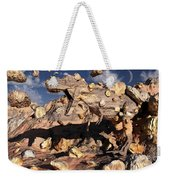 A Fossilized T. Rex Bursts To Life Weekender Tote Bag