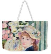 A French Girl With A Fan Weekender Tote Bag