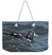 A Harlequin Duck Surfing Weekender Tote Bag