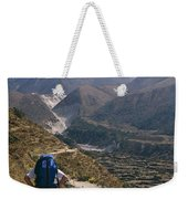 A Hiker With A Mountain Range Weekender Tote Bag